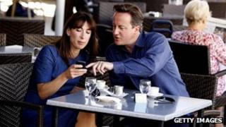 David Cameron and his wife Samantha at a cafe in Majorca, Spain