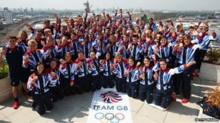 Medallists at Team GB house in London, 12 August, 2012
