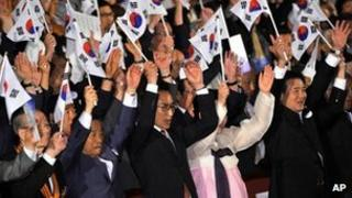 South Korean President Lee Myung-bak during a ceremony marking the anniversary of the end of Japan's colonial rule over Korea from 1910-45, in Seoul, South Korea, on 15 August, 2012