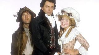 Tony Robinson, Rowan Atkinson and Helen Atkinson Wood in Blackadder