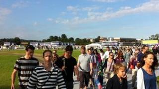 Visitors arriving at Eton Dorney