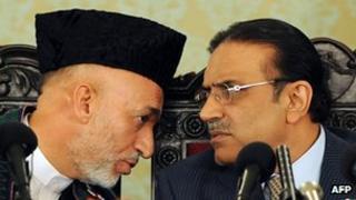 File photo (2008) of President Karzai (left) and his his Pakistani counterpart Asif Ali Zardari