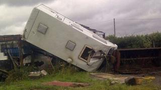 Overturned caravan at Bolton farm