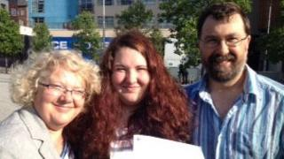 Charlotte Kemp with her parents Colyn and Carmel