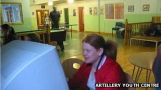 Girl at computer in Artillery Youth Centre