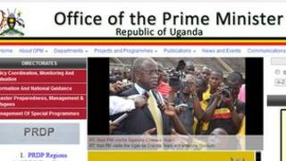 Screen grab from the Ugandan prime minister's website