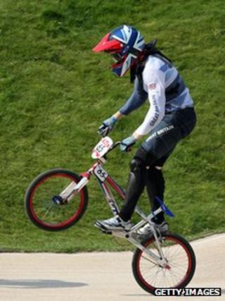 Liam Phillips in the Men's BMX Cycling Semi Finals at London 2012