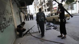 Free Syrian Army soldiers during clashes with government forces in Aleppo