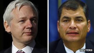 Split screen image of WikiLeaks founder Julian Assange and Ecuadorean President Rafael Correa