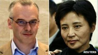A combination photograph shows British businessman Neil Heywood, left, at an Aston Martin dealership in Beijing in May 26, 2010 and Gu Kailai, wife of China's former Chongqing Municipality Communist Party Secretary Bo Xilai, at a mourning for her father-in-law Bo Yibo, in Beijing on 17 January, 2007
