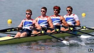 Great Britain's men's quadruple scull of (left to right) Matt Wells, Tom Solesbury, Charles Cousins and Stephen Rowbotham