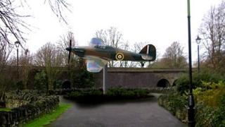 Replica Hurricane fighter plane in memory of its designer, Sir Sydney Camm