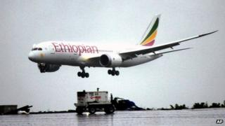 A Dreamliner Boeing 787 lands at Bole International airport in Addis Ababa, Ethiopia, Friday, Aug.17, 2012.