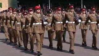 Last trainees at passing out ceremony at Bassingbourn Barracks, Cambridgeshire
