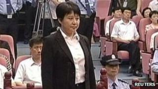 Gu Kailai attends the trial in the court room at Hefei Intermediate People's Court, 9 Aug 2012