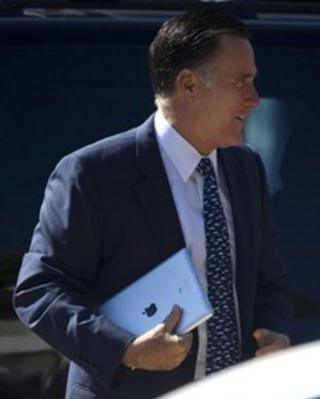 Mitt Romney walks to church in Wolfeboro, New Hampshire 19 August 2012