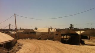 Tents covering tunnels on Gaza-Egypt border