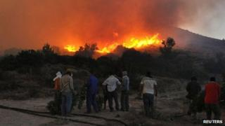 Residents watch a forest fire in the village of Kalamoti in the Greek island of Chios (19 August 2012)