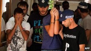 Israeli youths appear in court after being arrested on suspicion of beating a group of Palestinians in Jerusalem (20 August 2012)