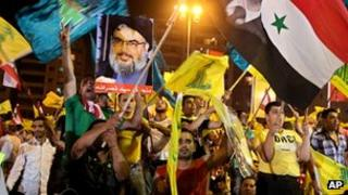 Hezbollah rally in the southern suburbs of the Lebanese capital Beirut on 17 August 2012