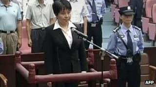 Gu Kailai facing the court during her sentencing in Hefei, China, 20 Aug 2012
