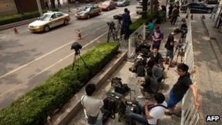 File photo: Members of the foreign media covering a story in China