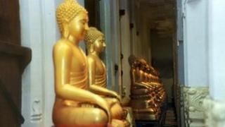 Buddhist statues in Kandy temple