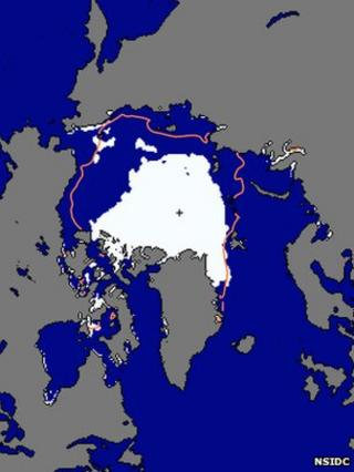 Arctic sea ice extent on 19 August 2012 (Image: National Snow and Ice Data Center)