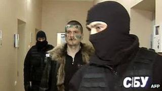 Adam Osmayev under arrest - grab from Russian Channel One TV, 27 Feb 12