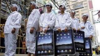 Participants take part in a protest against Foxconn in Hong Kong on May 7, 2011.