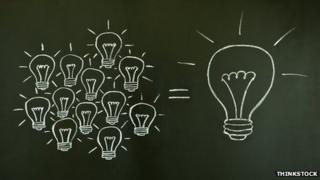 Lightbulbs drawn on blackboard