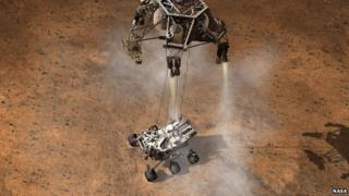 Artist's impression of Curiosity being dropped on to the surface of Mars.