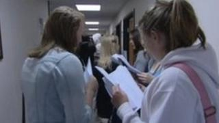 Pupils getting GCSE results