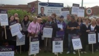 Unison staff outside North Tyneside General Hospital