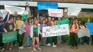 Protesters outside Redditch Youth House
