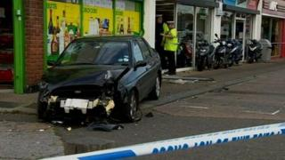 Ford Escort which crashed on the A127 Princes Avenue in Southend