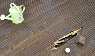 Decking damaged