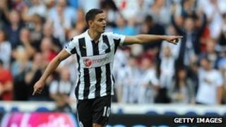 "Hatem Ben Arfa of Newcastle United celebrates scoring his team""s second goal against Tottenham"