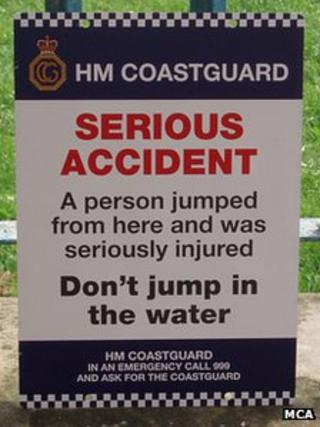 Tombstoning warning sign