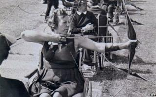 Margaret Maughan in action in the archery competition