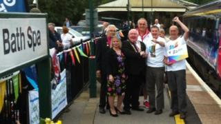 The Paralympic lantern arrived at Bath spa station