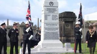 Fire memorial at Glasgow Necropolis