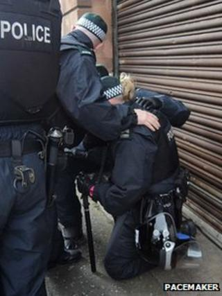 A police woman was injured during the trouble