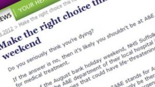 NHS Suffolk website asking people 'Do you seriously think you're dying'