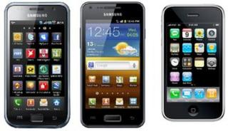 Samsung Galaxy S, Samsung Galaxy S2 and Apple iPhone 3G