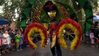 Man taking part in the Leeds West Indian Carnival parade