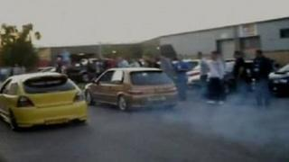 Video footage of cars racing