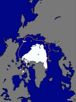 NSIDC sea ice extent map