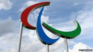 Paralympics symbol outside Velodrome in London