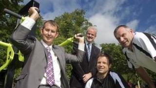Edwin Poots, Councillor Thomas Beckett, Glenn Ferguson and Bryn Cunningham.
